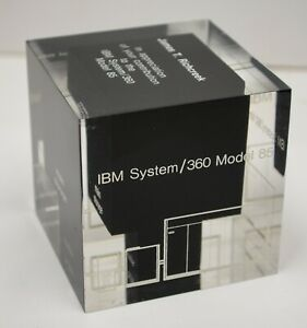 1970's IBM System/360 Model 85 Computer Paperweight James T Richcreek Award Vtg