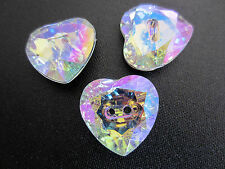 10 x CLEAR ACRYLIC LARGE DIAMANTE HEART BUTTONS 24MM, 2 HOLES