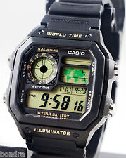 Casio AE1200WH-1BV Men's Digital Watch 4 World Time Zones Display 5 Alarms New