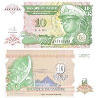 Zaire 10 Makuta 1993 P-49 Banknotes Large Size UNC