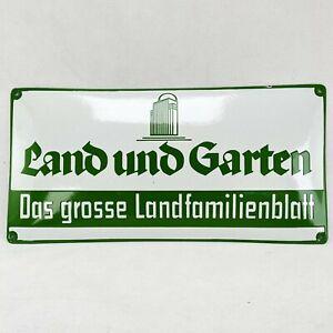 Land und Garten Emailschild Emaille Schild enamel sign  24,5x49,5 cm