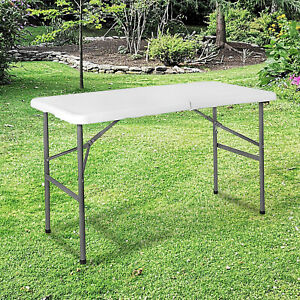 Folding 4ft Picnic Table Heavy Duty Utility Catering Camping Trestle BBQ Party