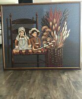 H. Huntington SIGNED Framed Folk Art DOLL Original Oil Painting on 38x46 Canvas