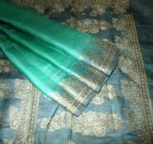 BVH WEARABLE PURE SILK Vintage Sari Saree 5yds W38 S386 Pck Green Woven wedding