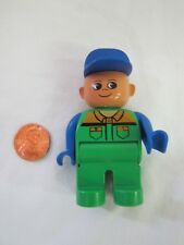 "Lego Duplo WORKER MAN DAD w/ Blue Hat 2.5"" Mini Figure Minifig Excellent!"