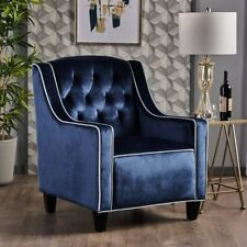 Milan Two Tone TUFTED Cobalt New Velvet Club Chair ArmChair