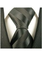 Scott Allan Mens Formal Striped Necktie - Black Mens Tie