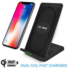 Dual Qi Wireless Charger Dock Mobile Phone Charging Pad Stand Station Universal