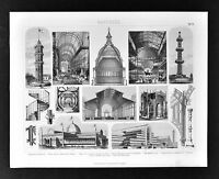1874 Bilder Architecture Print - Crystal Palace Exhibition Halls US Capitol Dome