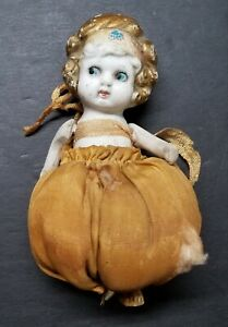 """Antique Hand Painted Bisque Jointed Doll Pin Cushion 5"""""""