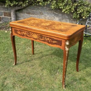 Dal Negro Italian Games/Roulette/Console Walnut Inlaid Giltmetal Table