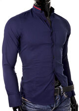 Shirt Casual Formal Stand-up Collar Slim Fit Decorative Band Cotton Many Colours Navy Blue & Beige M