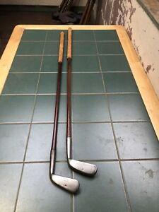 Hickory Golf Clubs Tom Stewart Wide Sole Irons Rare Pitcher And Shallow Mashie