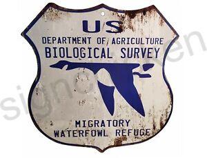 1930's NATIONAL WILDLIFE REFUGE - WATERFOWL - Replica, hunting, RUSTY LOOK