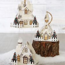 Raz Import~White Birch Town Square Christmas Lighted House/Church Ornament~Set 3