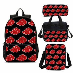 Naruto0 Red Cloud School Backpack 4PCS Shoulder Bag Lunch Bag Crossbody Pen Bag