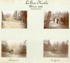 France, Les trois moulins. Février 1902  Vintage citrate print. Collage de 4 pho