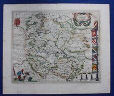 Antique atlas map HEREFORDSHIRE, 'HEREFORDIA COMITATUS', J. Blaeu, c.1648