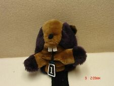 "*Used Head Cover #1 Goffer Style ""Buck Teeth and All""  Purple, Brown & Black"