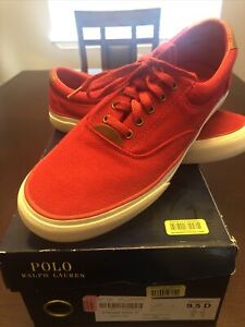 Polo Ralph Lauren Thornton Red Canvas Casual Sneakers Shoes Men's 9.5 D
