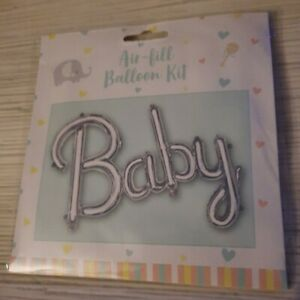 BABY FOIL SILVER BALLOON SELF INFLATING NO HELIUM BABY SHOWER BABY PARTY FUN