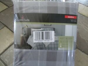NEW QUEEN SHEET SET FITTED SHEET SET CUDDL DUDS GRAY PLAID SOFT & COZY