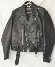 Vintage UNIK Unisex Leather Jacket Size 36 Black Motorcycle Jacket Small Punk
