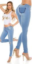 Sexy KouCla Skinny Jeans Hose Mit Nieten Und Riss S 36 L 40