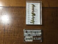 vintage lot of 35 Orvis flies; mostly nymphs; including 20 labeled from England