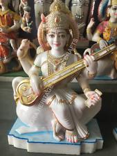 "24"" Tall Marble Saraswati Divine Statue Hand Painted Art Home Gift Decor E1430"