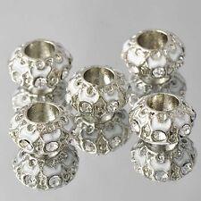 5pcs Silver Plated White Enamel CZ Charms European Bead Fit Snake Chain Bracelet
