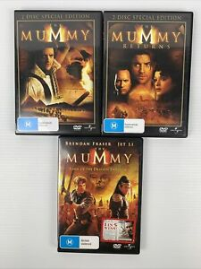 The Mummy + The Mummy Returns + Tomb Of The Dragon Emperor DVD Bundle x3 TRACKED