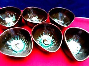 Vintage 6 Terracotta Bowls Salad  Dessert Earthenware Pottery Hand Made Kitchen