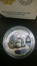 Canada 2014 Murano Venetian Glass Snowman $20 Christmas Silver Proof