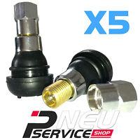 5 X VALVOLA TR412 STELO CROMATO PER CERCHI IN LEGA AUTO E MOTO FORO 11.3 mm