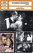 Movie Card. Fiche Cinéma. Un amour désespéré / Carrie (USA) William Wyler 1952