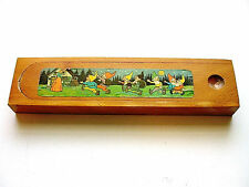 Beautiful Vintage Walt Disney's Snow White & The Seven Dwarfs Wooden Pencil Box