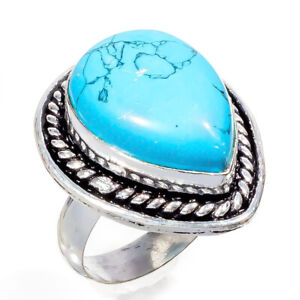 Turquoise Gemstone 925 Sterling Silver Handmade Jewelry Ring Size 7_b1247_286