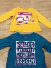 Baby Girls Size 9-12 Months Yellow Shopping Top & Green Rules Broken Top - BNWT