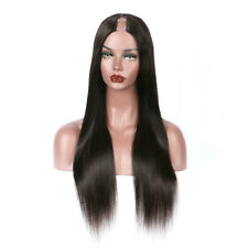 8A Long Straight Human Hair Wig Virgin Malaysian Remy Glueless U Part Wig 20inch