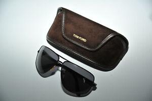 Tom Ford AIDEN TF37 Sunglasses BR 64 11 130 Designer Aviator ITALY Gray Lens