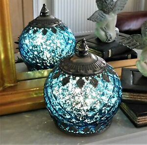 Moroccan Style Ocean Blue Colour Patterned Glass LED Lantern Home Decor Lamp