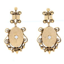 Yellow Gold Diamond Star Scrollwork Dangle Earrings -14k Round Brilliant .10ctw