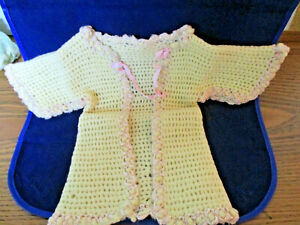 Vintage Hand Crocheted Cream & pink Baby Sweater  & Cap