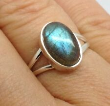 Labradorite Solid Sterling Silver Oval Ring UK Size Q, New, Actual One. UK.