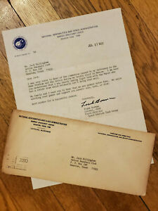 Frank Borman NASA Astronaut signed letter to Jack Billingham Houston Astros LOA
