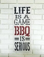 Life Is A Game BBQ Is Serious Large Rustic Hand Painted Wood Man Cave Sign