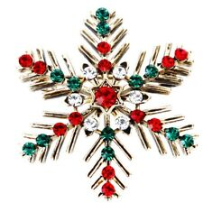 Vintage Colorful Christmas Snowflake Rhinestone Suit Brooch Pins Xmas Gifts