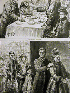 Blind Leading the Blind in Victorian Times TEA PARTY Antique 1890 Print Matted