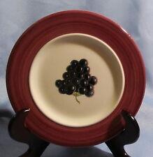 Este CE Dipinto A Mano ~ Handmade in Italy ~ Salad Plate ~ Grapes ~ Burgundy Rim